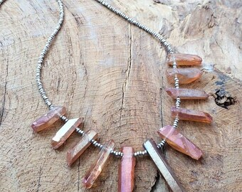 Titanium Quartz  Necklace | Thai Karen Hill Tribe Silver | Blue Chalcedony | Gemstone | Bohemian