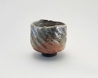 "Carbon Trap Shino Matcha Tea Bowl with RopeTexture Handcrafted Stoneware Chawan Quasi Woodfired Yunomi ""Salted Snow"" Ready to Ship"