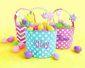 Chevron Easter Bucket - Pink Easter Basket - Boys Aqua Basket - Boys Easter - Easter Bunny - Girl Easter - dot Easter Tote