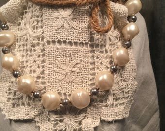 Vintage Natural Shaped Pearl Necklace -Costume Jewelry