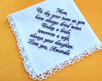 Mother of the bride handkerchief, Embroidered wedding handkerchiefs, Custom hankie, personalized bridal hankies for bride, Wedding Hanky