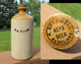 """Antique H Rothwell Radcliff Herb Beer Crock jug re-use for """"Foot Warmer"""" - 10.5"""" - late 1800s"""