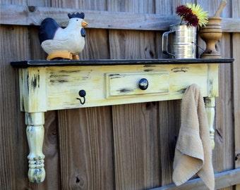 Farm House Shelf, Wood Shelf, Farmhouse Decor, French Country Shelf, Kitchen Shelf, Bathroom Shelf, Folk Art Shelf, Picture Shelf, Wooden