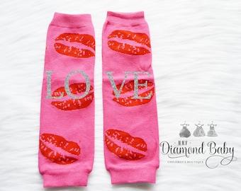 Kiss Leg Warmers-Valentines Leg Warmers-Heart Leg Warmers- Love Leg Warmers- Baby Leg Warmers-Pink Baby Leg Warmers