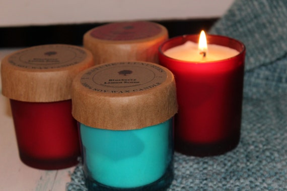 Blueberry Lemon Scone Limited Edition Red or Aqua 7 oz Jar 100% Soy Candle