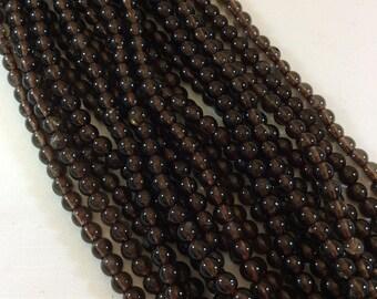 4mm Smokey Quartz Round Bead Strand, approx. 102 beads per strand