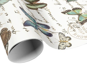 Butterflies Carte Postale Gift Wrap - Butterfly and French Script Wrapping Paper - Gift Paper - Craft Paper