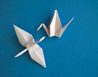 "100 Small white origami paper Cranes, 2.5"" White, wedding decoration"