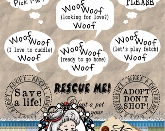 Rescue Dog, Pet Words, Adopt, Puppy, Digital Stamps, Photography Overlays, Clipart, Digi,  Word Art Sentiments ID:NV-WA0051 By Nana Vic