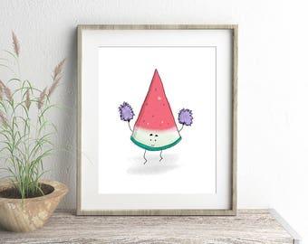 Watermelon Print, Childrens Prints, Nursery Wall Art, Funny Art, Tropical Fruit Illustration, Watermelon gift, Wall Art, Quirky Wall Art,