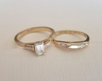 Vintage Diamond Bridal Set 14K Gold  (size 7) Engagement Wedding