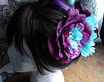 Purple Sky Peony Instant Hair Garden Headdress - Belly Dance, ATS, Kuchi Button, Renaissance Festival, Princess, Fairy, Tribal Fusion, Blue