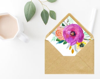 Envelope Liners, A7 Euro Flap, A7 Envelope Liners, Printable Envelope Liners, Floral Envelope Liners, Watercolor Florals, Envelope Liners