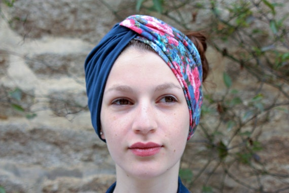 Headband-Turban bicolor blue flowers Retro romantic. Jersey headband.