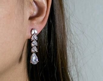 Tear Drop Dangle Earrings Cubic Zirconia