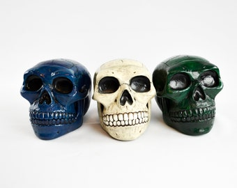 MADE to ORDER: Hinged Jaw Skull Deck Box by Leifkicker. Dyed and Painted Resin. Great for EDH; holds 100 Sleeved Cards.