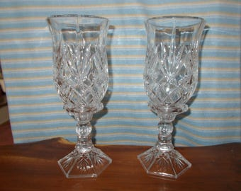 """11 3/4"""" tall pair of Shannon Crystal Hurricane lamps by Godinger"""
