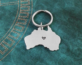 Australia Keychain Personalized Hand Stamped Australia Keyring Long Distance Relationship Silver Australia Gift Heart Map State Necklace