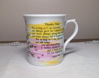 Vintage Mug MOM Sentimental Blue Mountain Arts Papel 1980s Pink Green Yellow Mothers Day