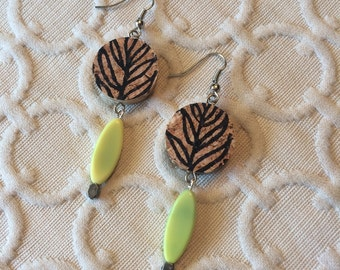 Boho Botanical Leaf Wine Cork Earring - long yellow bead