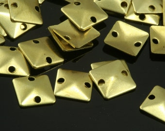 1000 pcs 7 mm raw brass curved square tag two 2 hole raw brass connector charms ,raw brass findings 551RB-186