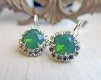 Vintage Earrings Bridal Earrings Wedding Bridal Jewelry Gift for Her Vintage Emerald Jewelry Estate Style Earrings Green Opal Earrings