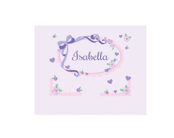 Personalized Lacey Bow White Wall Canvas