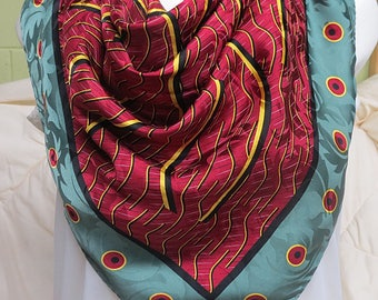 Large Vintage Silk  Scarf  Italy   34 X 34  #183