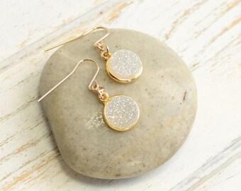 Gold Aurora Borealis Druzy Agate Earrings