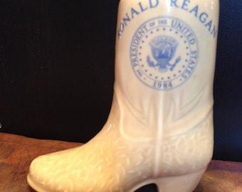 Vintage PRESIDENT RONALD REAGAN Porcelain Jelly Bean Boot