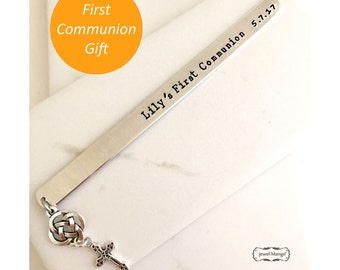 First Communion gift, Baptism, Confirmation, Personalized Bookmark,Custom Bookmark,Keepsake Date gift,Christian gifts, Catholic gifts, cross