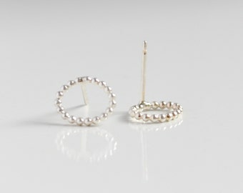 Sterling Silver Dot Stud Earrings - Open Circle Nickel Free Studs - Delicate Round Oval Earring Studs - Geometric Jewelry by Hook and Matter