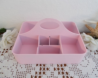 Pink Shabby Chic Makeup Storage Organizer Craft Room Portable Caddy Bathroom Toiletry Tray Paris French Country Cottage Home Decor Girl Dorm
