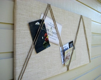 Bulletin Board White burlap with an accent of natural jute twine in a chevron pattern, memo board for your office, bedroom or kitchen