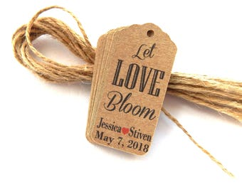 10 - 100 pcs. Let Love bloom Tags, Thank You Tag, Wedding Thank You Tags, Gift Tags, Wedding Favor, Wedding  Kraft Tags