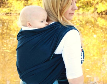 Baby Carrier Hybrid Stretch Wrap - Navy Blue - Front & Back Carries- Instructional DVD Included -  Comfortably Carry Newborn To Toddler