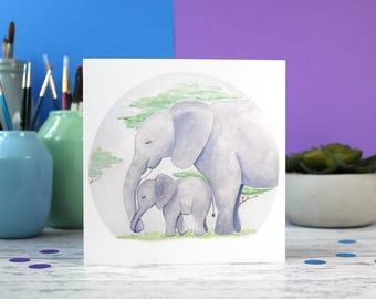 Elephants card, new parents card, new baby card, cute animal card, new mum card