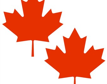 Maple Leaf Decal 2 Pack Set - Maple Stickers - Choose Color & Size