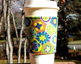 FREE SHIPPING UPGRADE with minimum -  Fabric coffee cozy / cup sleeve / coffee sleeve  - Millifiori in Lime - Modern Yardage