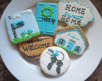 House Cookies, Sugar Cookies, New Home, House Warming, Welcome Home, Home Sweet Home, Home, House, Welcome, Front Door, Cottage