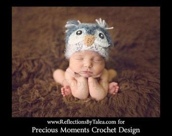 Owl Hat, Baby Owl Hat, Newborn Owl Hat, Fuzzy Owl Hat, Newborn Boy Owl Hat, Gray Owl Hat, Newborn Photo Prop, Crochet Baby Hat
