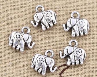 10 Elephant Charms Antique Silver Tone Charms 2-Sided with Flower Detail Charms Charm Bracelet Bangle Bracelet Pendants #896