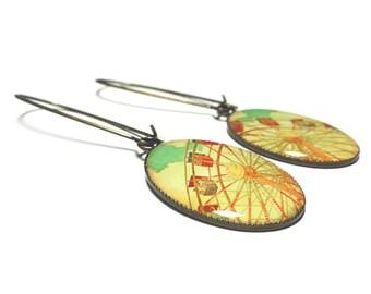 Ferris Wheel Earrings, Carnival Jewelry, Vintage Fair, Bronze or Silver Resin Dangle Earrings, Handmade Jewelry, Gift for Her, Resin Jewelry
