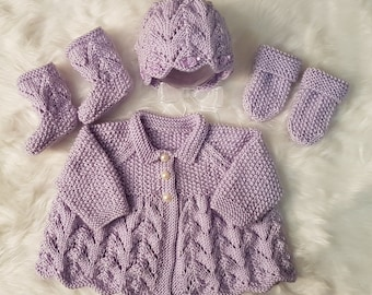 Meg Baby Cardigan, Bonnet or Beanie Hat, Mitts & Booties knitting pattern * Instant Download*