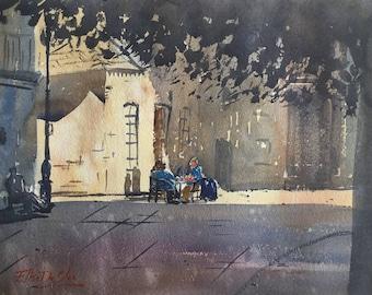 Original Watercolour Painting Art 'Afternoon Tea' by Elise De Silva