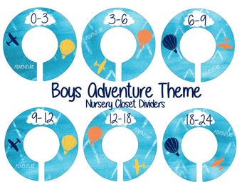 Airplane Closet Dividers, Boys Adventure Nursery, Closet Dividers for Nursery, Plastic Clothes Dividers, Navy Blue yellow Orange