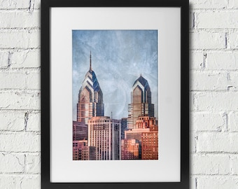 Philadelphia Art: Skyline Skyscraper Photograph With Rough Textures Added
