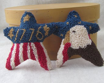 Americana Punch Needle Pattern ~ Needle Punch Embroidery ~ Stars and Stripes ~ Eagle ~ 1776 ~ Punch Embroidery Pattern ~ Patriotic