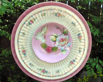 Pink Plate Flower with Butterfly and Flowers, Yard Art, Close Out Sale