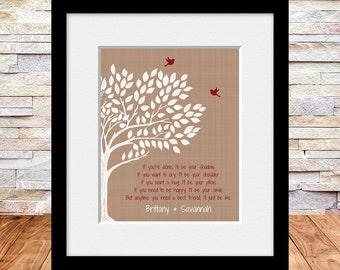 Best Friends Wall Print, Best Friends Poem, Maid of Honor Gift, Silhouette Tree with Best Friends Poem, Best Friend's Gift
